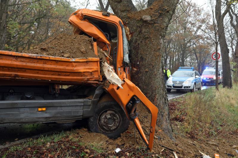 LKW-Fahrer überlebt schweren Baumcrash