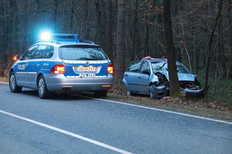 PKW prallt frontal gegen einen Baum  1 Schwerverletzter
